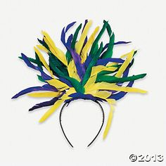 Find Mardi Gras hats & tiaras just in time for Fat Tuesday Whether you're heading to the French Quarter or celebrating at home, find purple, green & gold party supplies for an unforgettable Mardi Gras. Mardi Gras Hats, Mardi Gras Decorations, Feather Art, Feather Headband, Carnival Costumes, Diy Costumes, Rio Carnival, Madi Gras, Photo Booth Backdrop
