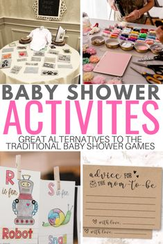 A great list of baby shower activities to keep your guests entertained. Headband making station, onesie decorating and more! Some of these activities double as decor for the baby shower! Baby Shower Activities Not Games - Baby Bricolage Baby Shower, Regalo Baby Shower, Fiesta Baby Shower, Baby Shower Crafts, Baby Shower Invitaciones, Baby Shower Activities, Baby Shower Parties, Shower Gifts, Baby Shower Guest Gifts