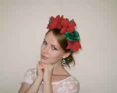 Christmas Red Green Flower Crown Headpiece  - Poinsettia Flower Crown - Red Green Christmas Headpiece