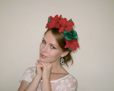 Christmas Red Green Flower Crown Headpiece  - Poinsettia Flower Crown - Red Green Christmas Headpiece
