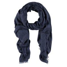 Jeansblauwe zachte sjaal met rafelfranje