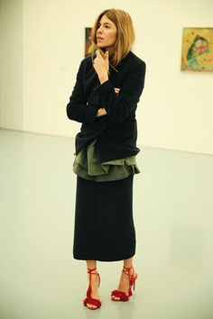 MAJA WYH Saturdays — Blazer: Ji Oh Sweater: Yeezy Skirt: Filippa K  Shoes: Aquazurra