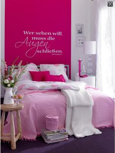 Like The Idea Of Hot Pink Wall With A White Decal Bedroom Vanity