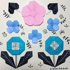 花*花。 #paperflower #papercraft #illustration #origami #お花 #おりがみ #折り紙 #イラスト #ペーパークラフト