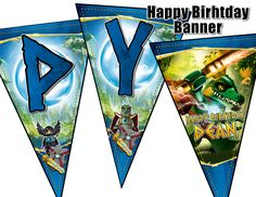 Chima Birthday Banner - Legends of Chima Pennant Birthday Banner - Chima Party Decoration