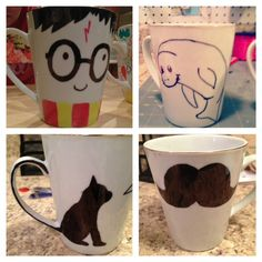 Sharpie Mug - DIY Craft Kits, Monthly Craft Projects, Supplies, Subscription Box Sharpie Projects, Sharpie Crafts, Sharpie Art, Diy Projects To Try, Sharpies, Marker Crafts, Hand Painted Mugs, Diy Mugs, Crafty Craft
