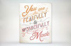 8x10 art print - Fearfully & Wonderfully Made - Orange - Pink Playful Typography Nursery/Playroom Poster Print - Psalm Scripture Bible Verse. $17.00, via Etsy.