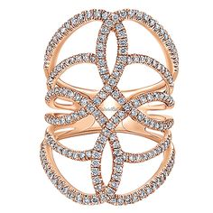 14k Pink Gold Lusso Diamond Style  Statement Ladies' Ring With  Diamond