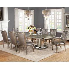 A Line Furniture Glamour Design Metallic Platinum Rhinestone Button Tufted Dining Set Silver 9-Piece Sets