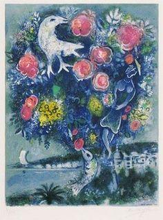 ニースとコートダジュールより「バラの花束のあるアンジュ湾」(1967)  Marc Chagall