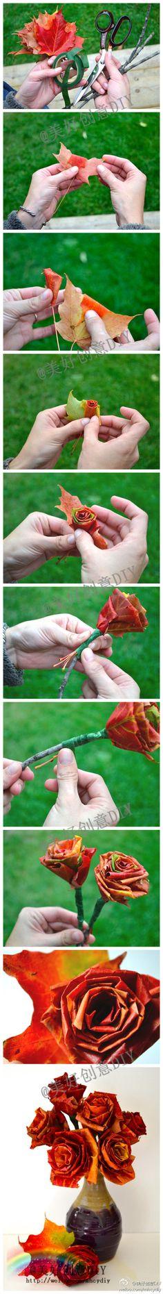 用枫叶做一只玫瑰花吧~~——更多有趣内容,请关注