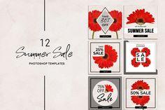 Summer Sale Instagram Pack By Gina Heyer Illustration Studio Social Media Template, Social Media Design, Instagram Boost, Summer Poster, Youtube Channel Art, Hello Beautiful, Summer Sale, Spring Summer, Creative
