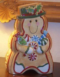 Adorable Porcelain Christmas Kitchen Gingerbread Cookie Jar