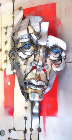 Blue Eyed Man Metal Sculpture Head PRINT by Joel Sullivan
