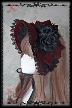Rose Sanctuary Lolita Bonnet - by Infanta Style Lolita, Gothic Lolita Dress, Gothic Lolita Fashion, Fashion Goth, Moda Lolita, Lolita Mode, Headdress, Headpiece, Lolita Hair