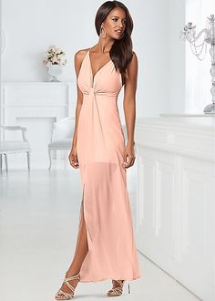 Subtly sexy in sheer! Venus drape detail long dress with Venus embellished strappy sandal.