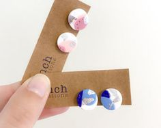 Clip on earrings, pink or blue circle with silver foil, handmade from polymer clay