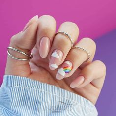 The Classy Almond Nails Designs In New Year - Nail Art Connect Classy Almond Nails, Almond Nail Art, Pale Pink Nails, Blue Nail, Pastel Nails, Colorful Nails, White Nail Art, Matte Pink, Blush Pink