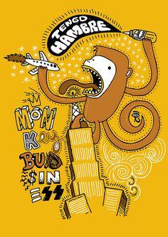 "monkey business by Carlos ""kaká"" Marques, via Flickr Monkey Drawing, Monkey Illustration, Monkey See Monkey Do, Cartoon Monsters, Monkey Business, Skateboard Art, Graffiti, Fan Art, Sober"