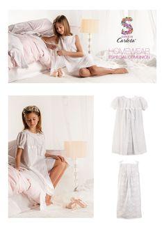 Batita con manga corta afarolada, cuello semibebé y lazada y camison en voile bordado en blanco. Coordinado especial para niñas muy especiales.