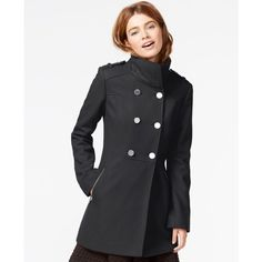 Guess Double-Breasted Pleated Peacoat ($100) ❤ liked on Polyvore featuring outerwear, coats, charcoal, peacoat coat, double breasted coat, pea coat, guess peacoat and double breasted peacoat