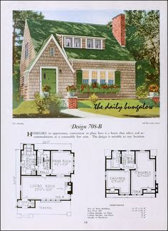 The Daily Bungalow Vintage House Plans, New House Plans, Small House Plans, Vintage Houses, Cottage Living, Cottage Homes, Southern House Plans, House Blueprints, Sims House