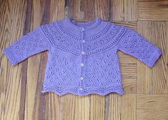 top-down eyelet yoke baby cardigan by Jen L.,  (fingering weight) six month size only