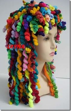 Crochet hair  LOL (this would be fantastic in the costume box for the grand-kids)