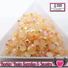 200 pcs 5mm AB PEACH Candy Jelly Rhinestones