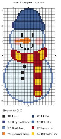 Snowman with Hat and Scarf om zăpadă cu fular Xmas Cross Stitch, Beaded Cross Stitch, Cross Stitch Charts, Cross Stitch Designs, Cross Stitching, Cross Stitch Embroidery, Embroidery Patterns, Cross Stitch Patterns, Christmas Knitting