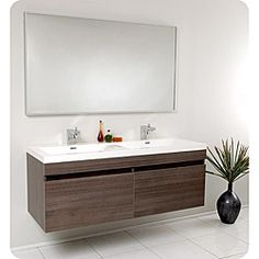 @Overstock.com - Fresca Largo Gray Oak Double Bathroom Vanity - This Fresca Largo modern bathroom vanity features an oak finish and stainless steel hardware. The vanity includes a mirror which complements the lines of this bathroom set.  http://www.overstock.com/Home-Garden/Fresca-Largo-Gray-Oak-Double-Bathroom-Vanity/5203104/product.html?CID=214117 $1,449.00