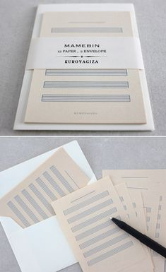 Modified pages of sheet music offer couples a blank space to fill with a chorus of remembrances and gratitude, set by Kuroyagiza. #weddings #weddinginvitation