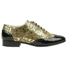 ea6e7a18b3c Pre-loved Chanel Metallic Gold Patent Black brogue wingtip loafer flat shoes  EU 39.5 US 8.5