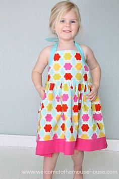 Dress pattern PDF Girls Halter Dress Pattern for Summer - Sewing Pattern sizes 2 to 8