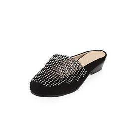 VogueZone009 Womens Closed Round Toe Low Heel PU Soft Material Solid Slippers with Glass Diamond, Black, 9.5 B(M) US ** Find out @ http://www.amazon.com/gp/product/B00MT9JQH8/?tag=clothing8888-20&pza=180816200417