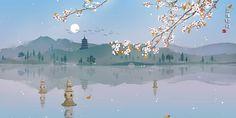 @mnizoe184 By 无轩 Scenic Wallpaper, Aesthetic Desktop Wallpaper, Anime Scenery Wallpaper, Wallpaper Pc, Computer Wallpaper, Aesthetic Backgrounds, Sky Anime, Chinese Artwork, Pix Art