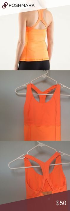 Neon Lululemon RUN: Fast Track Tank in Pizzazz Stunning color!!! I love that this tank has a little pocket for cash or a key. Excellent condition. lululemon athletica Tops Tank Tops