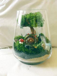 D.I.Y Terrarium, faux moss Terrarium,  Waterfall terrarium, wedding favours,  Artificial Terrarium kit.