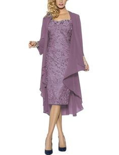Lace Mother of the Bride Dresses Formal Gowns with Chiffon Jacket Wraps Size 4 Lavender