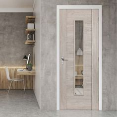 Laminates Alabama Fumo Smoky Grey Coloured Door with Clear Safety Glass is Prefinished - Lifestyle Image.    #contemporrydoor #moderndor