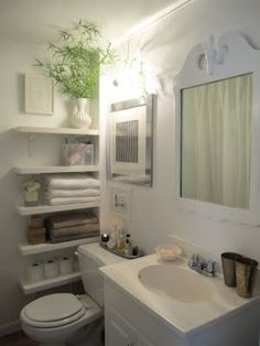 love this tiny bathroom. The shelf at the bottom for the tp would solve our current predicament.