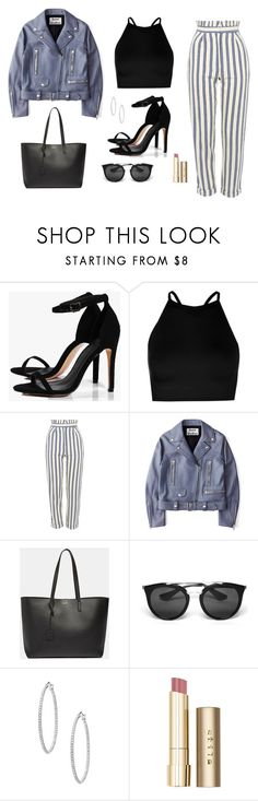 """Untitled #1542"" by alex-gucka ❤ liked on Polyvore featuring Boohoo, Topshop, Acne Studios, Yves Saint Laurent, Prada and Stila"