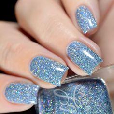 Twinkle Lights, Twinkle Twinkle, Blue Chrome Nails, Hair Beauty, Beauty Stuff, Light Texture, Holographic Glitter, Creative Nails, Cobalt Blue