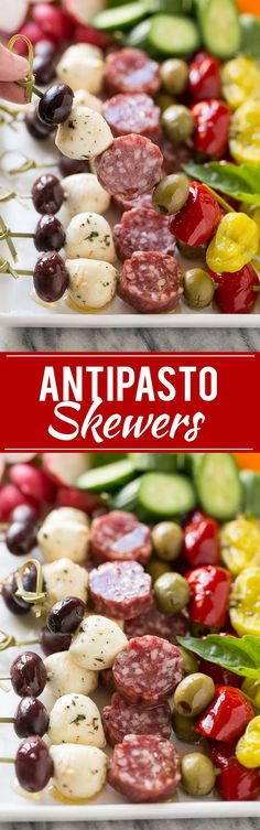 Antipasto Skewers - An assortment of Italian meats, cheeses, olives and vegetabl. Antipasto Skewers – An assortment of Italian meats, cheeses, olives and vegetables threaded onto Finger Food Appetizers, Yummy Appetizers, Appetizers For Party, Finger Foods, Appetizer Recipes, Recipes Dinner, Appetizer Ideas, Dinner Parties, Easy Summer Appetizers