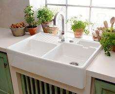 Lavello Cucina in Ceramica Vetrificata da Appoggio Stile ...