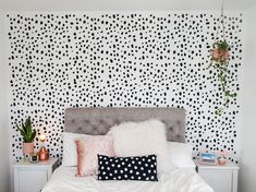Dalmatian print wall - I was looking for wallpaper but it was so expensive! So ended up buying a stencil and doing it DIY! Room Ideas Bedroom, Home Decor Bedroom, Bedroom Inspo, Cute Room Ideas, Cute Room Decor, Small Bedroom Office, Girls Bedroom Wallpaper, Accent Wall Bedroom, Pink Room