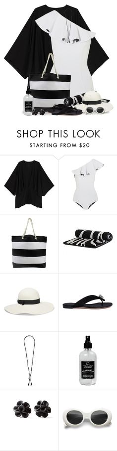 """Beach Day in Black and White"" by jackie22 ❤ liked on Polyvore featuring Melissa McCarthy Seven7, Lisa Marie Fernandez, Sensi Studio, Alexander McQueen, Chan Luu, Little Barn Apothecary and Hring eftir hring"
