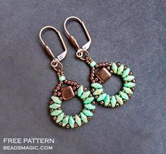 Free pattern for earrings Sanremo with tila and superduo U need: seed beads 11/0 seed beads 15/0 seed beads 8/0 czech tila beads super duo beads