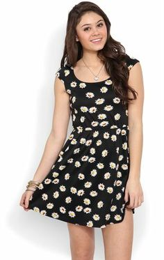 Deb Shops Cap Sleeve #Skater #Dress with #Daisy Print and Open Knot Back $32.90
