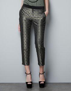 JACQUARD CAPRI PANTS - Trousers - Woman - ZARA